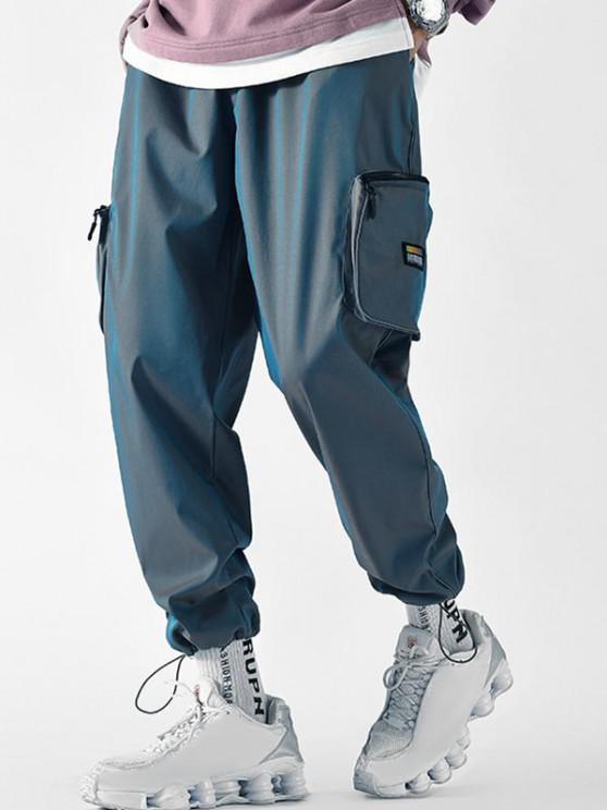 Applique Detail Side Pockets Cargo Pants - أزرق L