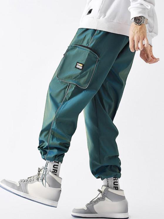 Applique Detail Seitliche Taschen Cargo Hose - Dunkelgrün S