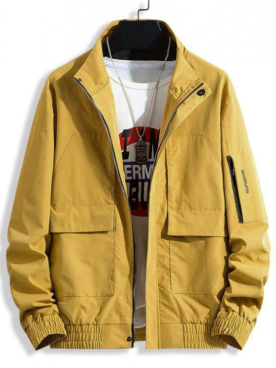 new Letter Print Flap Pocket Patch Jacket - YELLOW L