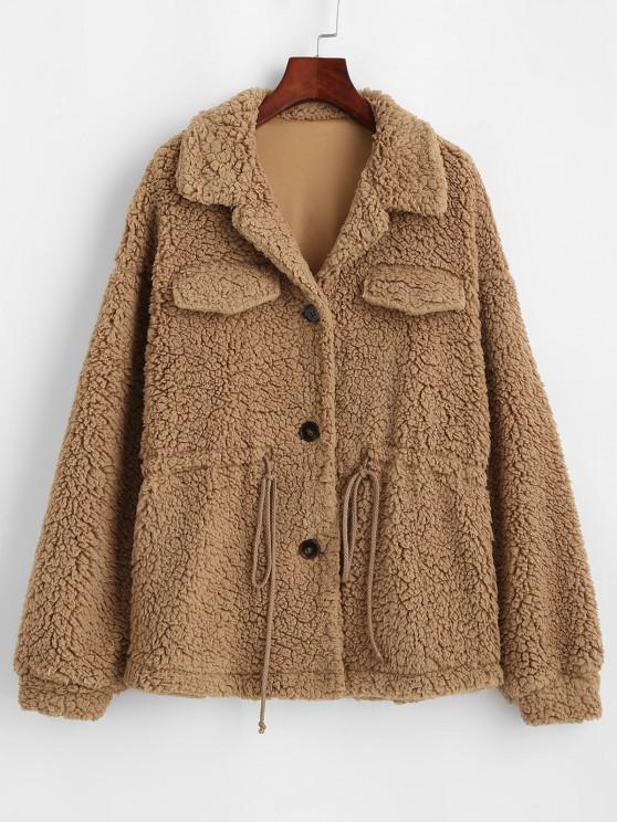 unique ZAFUL Faux Fur Drawstring Teddy Coat - CAMEL BROWN M