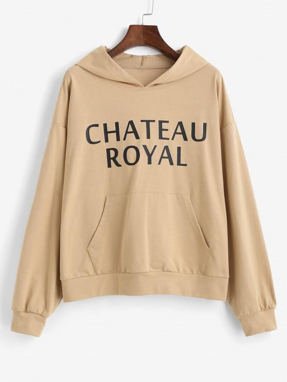 chic ZAFUL Drop Shoulder Letter Print Hoodie - CINNAMON S