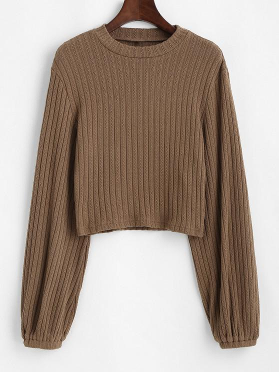 ladies ZAFUL Ribbed Lantern Sleeve Cropped Sweater - CAMEL BROWN S