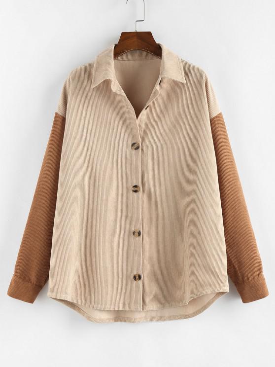 women's ZAFUL Corduroy Drop Shoulder Two Tone Shirt Jacket - MULTI-A M