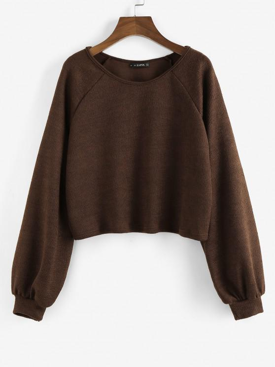 ZAFUL Raglan Sleeve Marled Pullover Sweatshirt - القهوة العميقة S