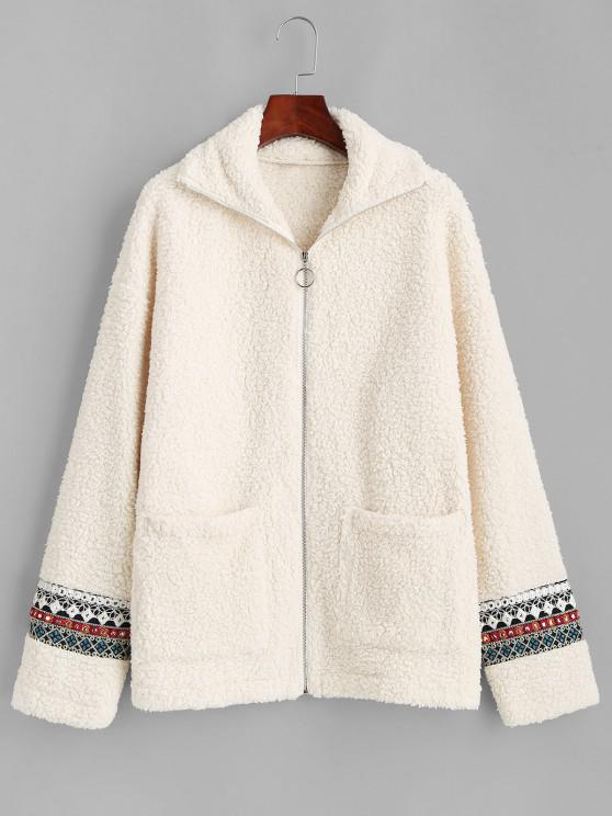unique ZAFUL Faux Fur Tribal Embellishment  Teddy Coat - LIGHT KHAKI S