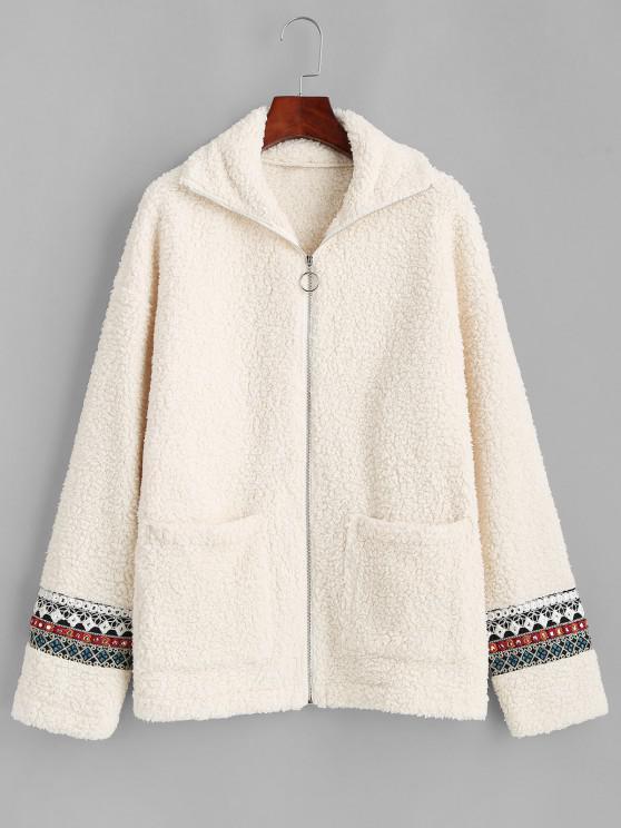 hot ZAFUL Faux Fur Tribal Embellishment  Teddy Coat - LIGHT KHAKI M