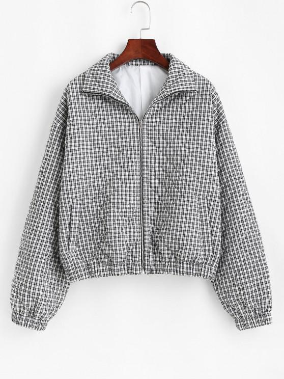 online ZAFUL Gingham Quilted Coat - BLACK M
