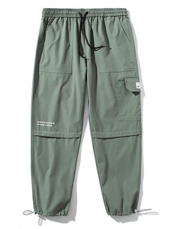 Text Print Applique Detail Cargo Pants - الجيش الأخضر M