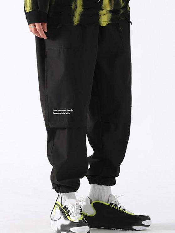 affordable Text Print Applique Detail Cargo Pants - BLACK XL