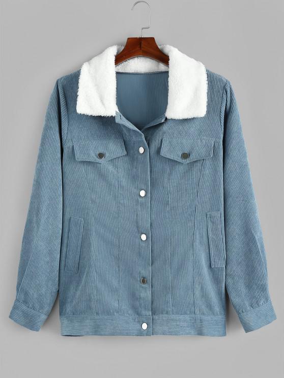 buy Plus Size Faux Fur Collar Corduroy Pocket Coat - DENIM BLUE 5X