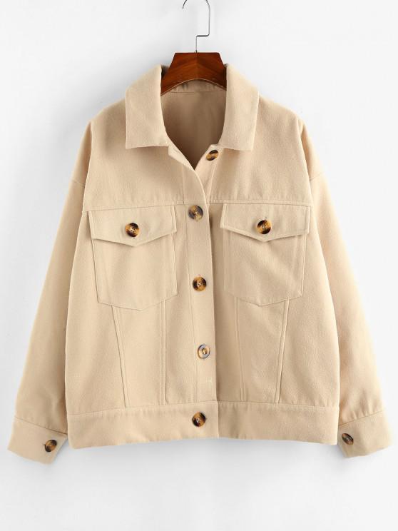 trendy ZAFUL Pockets Drop Shoulder Woolen Jacket - PEACH S
