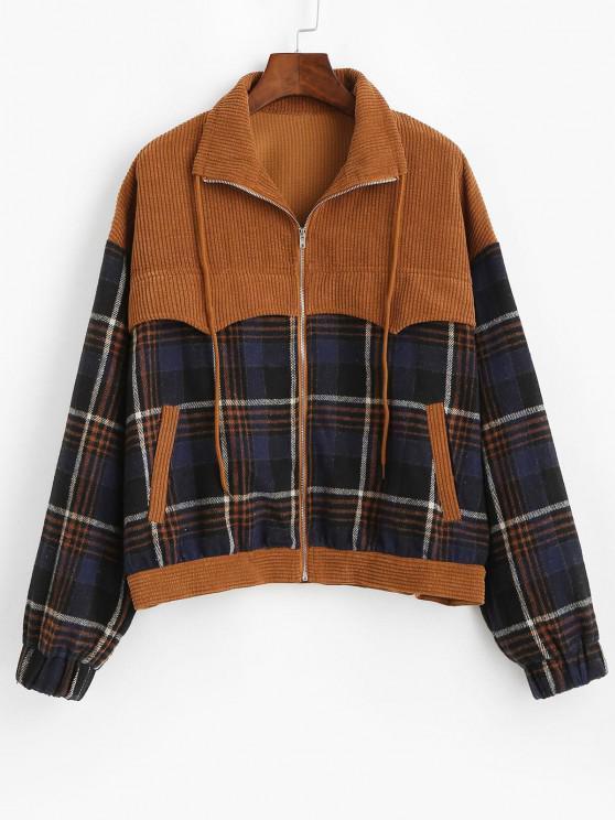 online ZAFUL Patchwork Plaid Corduroy Jacket - COFFEE S