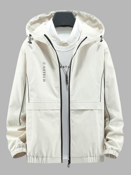 womens Heart Like Sunshine Print Zip Up Hooded Jacket - BEIGE L