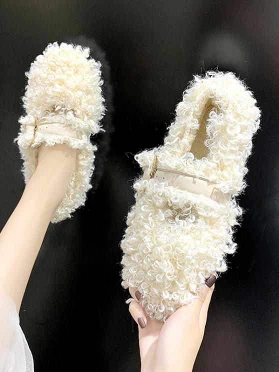 shops Buckle Strap Teddy Faux Fur Flat Shoes - BEIGE EU 37