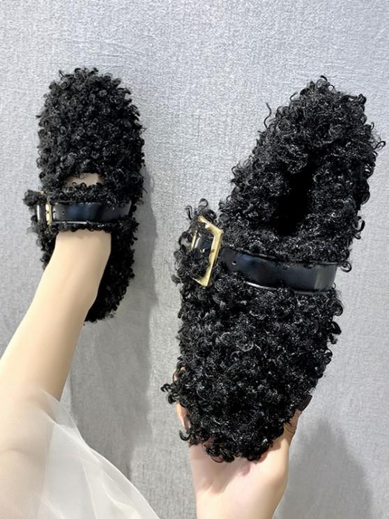 fancy Buckle Strap Teddy Faux Fur Flat Shoes - BLACK EU 38