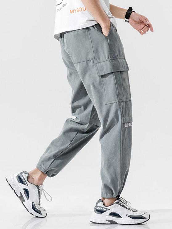 Letter Text Print Toggle Drawstring Casual Pants - اللون الرمادي L