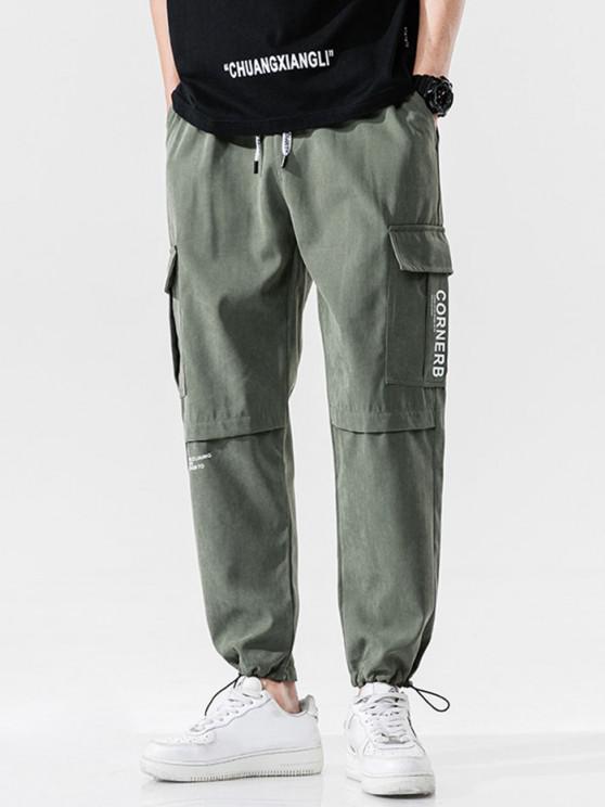 Letter Text Print Toggle Drawstring Casual Pants - الجيش الأخضر L