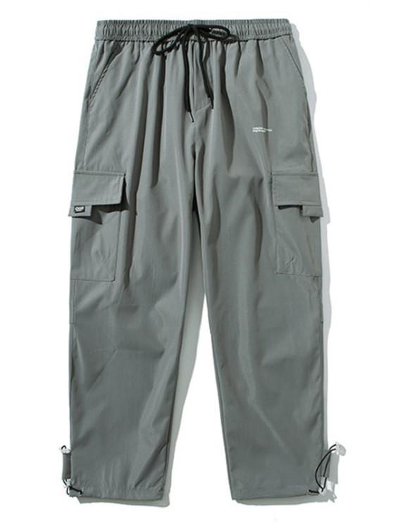 chic Letter Pattern Flap Pocket Drawstring Pants - LIGHT GRAY L