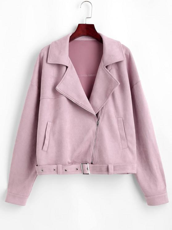 women's ZAFUL Zip Up Belted Faux Suede Jacket - LIPSTICK PINK S