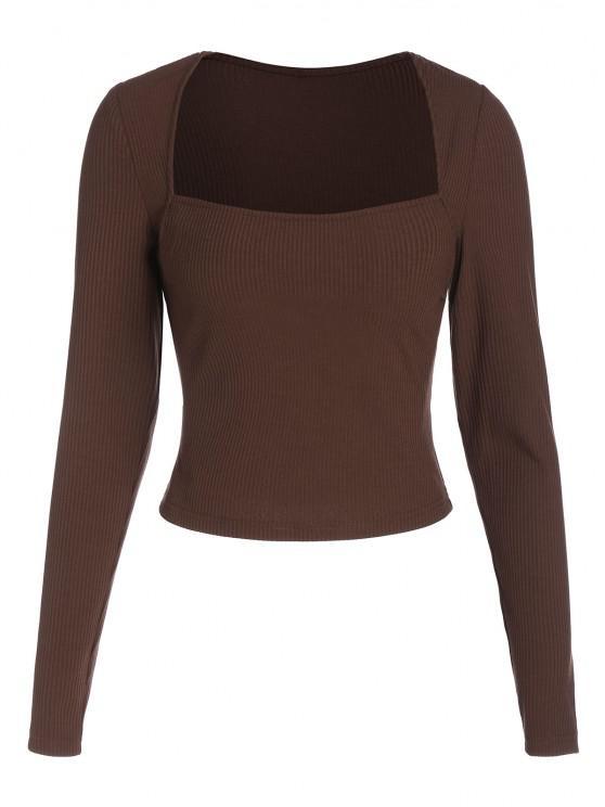 fashion ZAFUL Ribbed Square Collar Cropped T Shirt - DEEP COFFEE XL