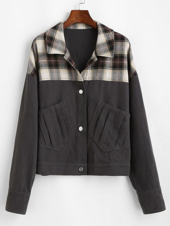 shops ZAFUL Plaid Patchwork Jacket - CARBON GRAY M