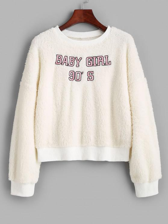 sale Crew Neck Fluffy BABY GIRL Embroidered Sweatshirt - WHITE M