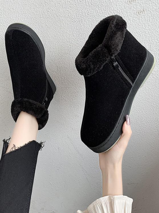 women Inner Fleece Flat Heel Snow Boots - BLACK EU 39