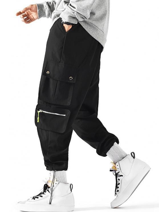 fancy Drawstring Ankle Utility Pocket Cargo Pants - BLACK XL