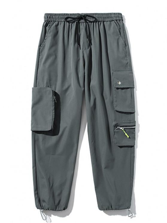 Pantalones de Carga con Bolsillo de Pecho con Cordón - Gris Oscuro XL