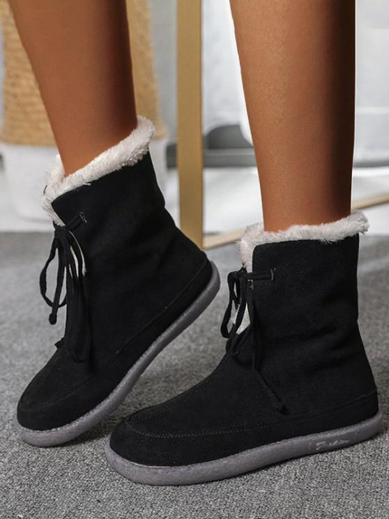 chic Lace Up Fluffy Snow Boots - BLACK EU 40