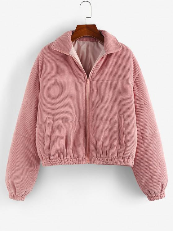 shop ZAFUL Corduroy Quilted Zipper Coat - DEEP PINK XL