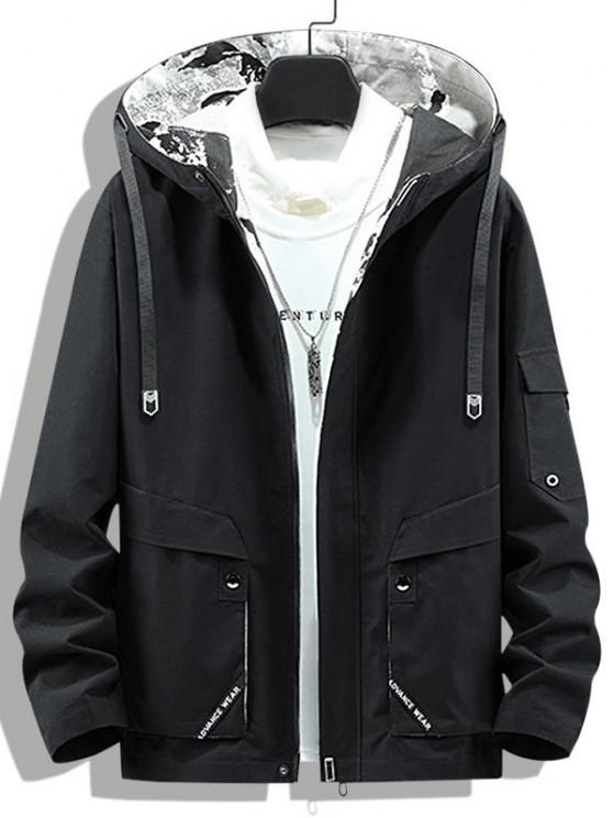 Letter Print Back Slit Hooded Jacket - أسود XS