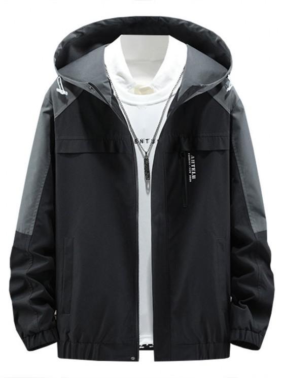Colorblock Panel Letter Hooded Jacket - اللون الرمادي M