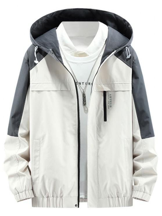 Colorblock Panel Letter Hooded Jacket - اللون البيج L