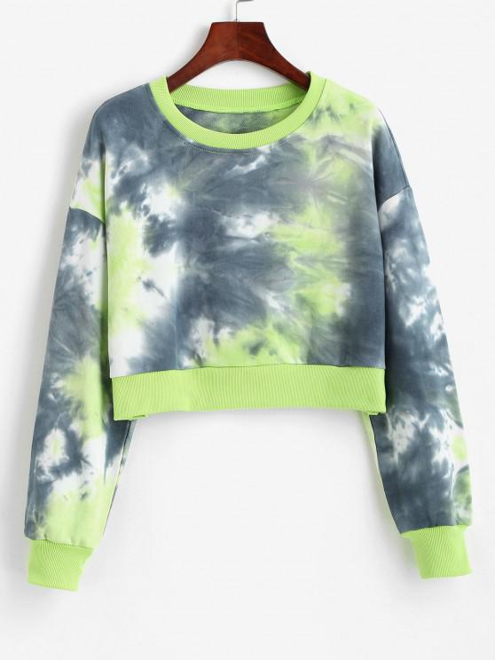 women Tie Dye Drop Shoulder Ribbed Hem Sweatshirt - GREEN M