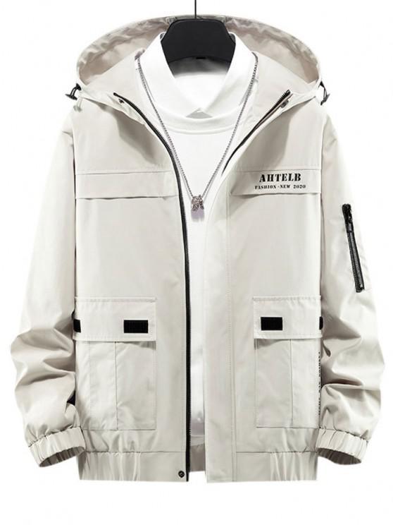 women's Letter Print Flap Pocket Zip Up Hooded Jacket - BEIGE L