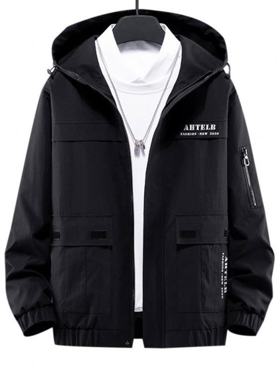 new Letter Print Flap Pocket Zip Up Hooded Jacket - BLACK L