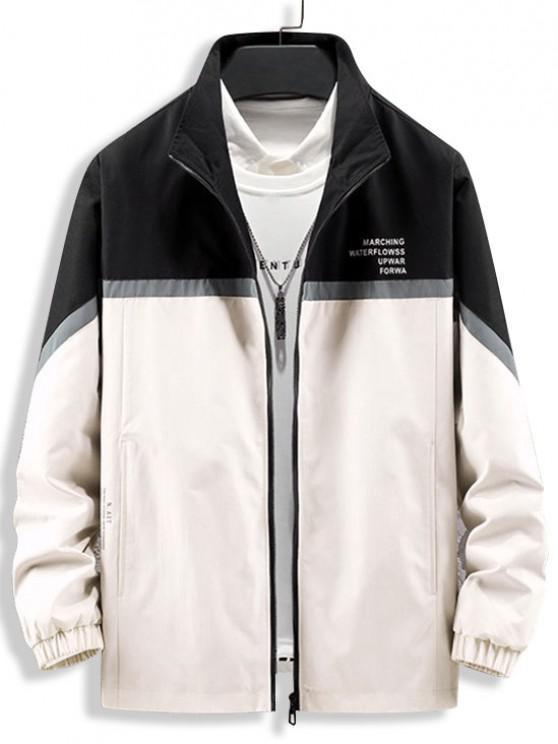 shop Colorblock Reflective Panel Zip Up Jacket - BLACK S