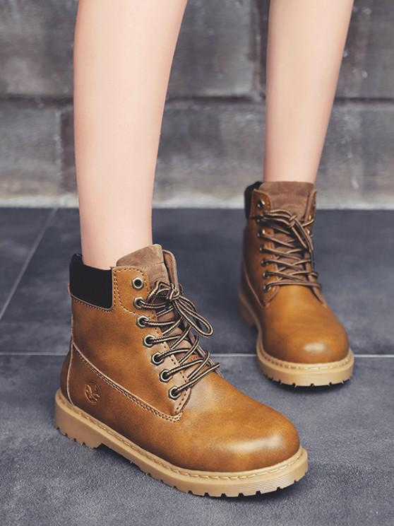 online Lace-up Closure Faux Leather Ankle Boots - LIGHT COFFEE EU 39