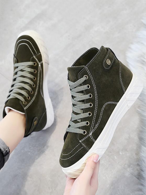 fashion Lace Up Inner Fleece Flat Heel Shoes - GREEN EU 40