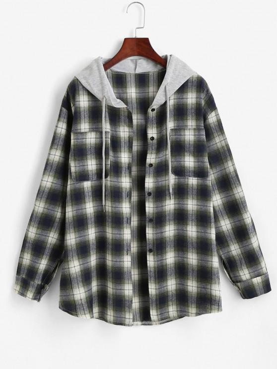 Hooded Checked Front Pocket Jacket - أخضر S