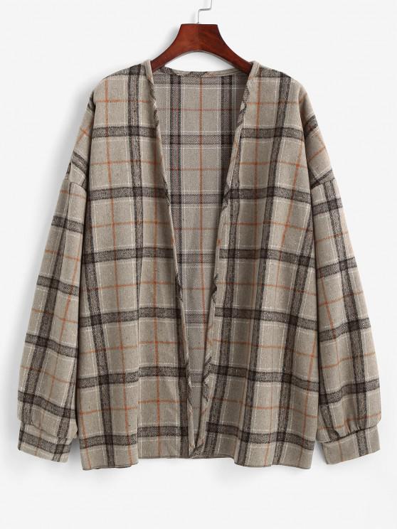 women Plaid Drop Shoulder Open Front Coat - CAMEL BROWN L