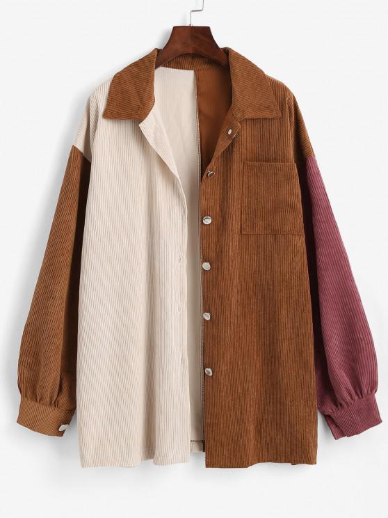 Boyish Colorblock Front Pocket Oversized Corduroy Shacket - متعدد S
