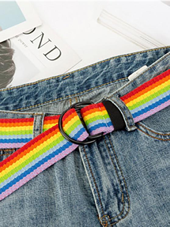 fashion Rainbow Striped Buckle Woven Belt - LAVA RED