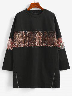 ZAFUL  Sequined Tunic Pullover Sweatshirt - Black M