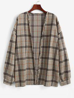 Plaid Drop Shoulder Open Front Coat - Camel Brown L