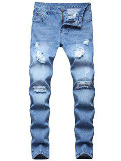 Long Distressed Destroy Wash Scratch Jeans - Light Blue 32