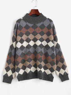 Argyle Pattern Mock Neck Sweater - Multi