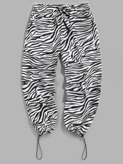 ZAFUL Pantalones Casuales De Estampado De Cebra De Cordón - Negro M