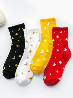 4 Pairs Star Moon Pattern Metallic Socks Set - Multi-a